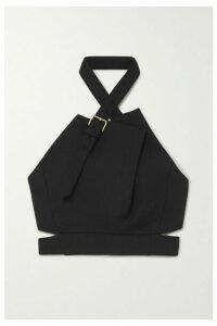 Proenza Schouler - Cropped Buckled Wool-blend Halterneck Top - Black