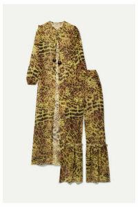 Adriana Degreas - Ruffled Leopard-print Silk-chiffon Tunic And Wide-leg Pants Set - Leopard print
