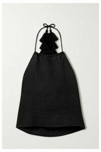 Jaline - Veronica Cotton Halterneck Top - Black