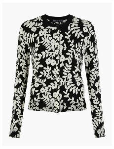 M&S Collection Monochrome Floral Round Neck Cardigan