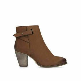 Carvela Wide Fit Smart - Wide Fit Tan Block Heel Ankle Boots