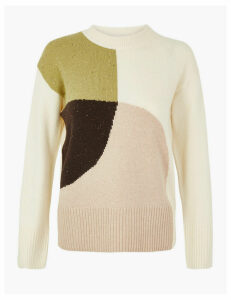 Per Una Cotton Rich Colour Block Round Neck Jumper