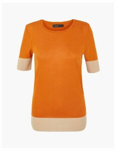 Autograph Tencel  Colour Block Short Sleeve T-Shirt