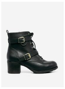 Womens Wide Fit Black 'Marie' Double Buckle Boots, Black