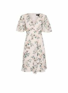 Womens Billie & Blossom Pink Tropical Print Button Front Dress, Pink