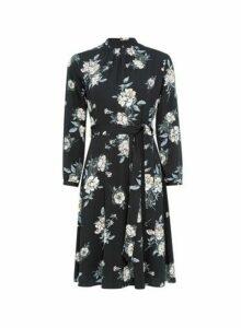 Womens **Billie & Blossom Petite Multi Colour High Neck Floral Midi Skater Dress- Black, Black