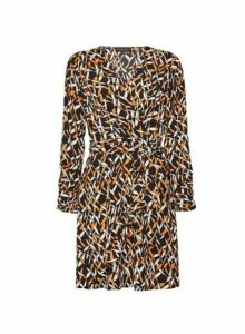 Womens Multi Colour Geometric Print Wrap Dress, Multi Colour