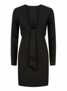 Womens *Vesper Black Plunge Mini Dress, Black