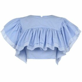 Ksenia Schnaider Ruffle Plaid Top