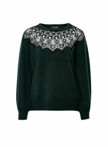 Womens Green Knitted Jumper With Lace Applique Yoke, Green