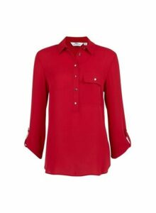 Womens **Tall Red Roll Sleeve Blouse, Red