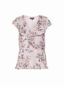 Womens **Billie & Blossom Blush Floral Print Ruffle Shell Top- Pink, Pink