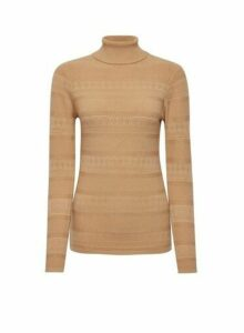 Womens Camel Pointelle Roll Neck Jumper, Camel