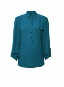 Womens Tall Blue Roll Sleeve Blouse, Blue