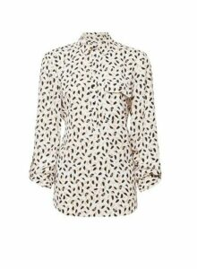 Womens Tall Ivory Printed Roll Sleeve Blouse, Ivory