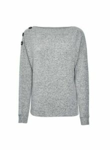 Womens Grey Button Shoulder Jumper, Grey
