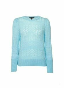 Womens Aqua Pointelle Scallop Jumper- Green, Green