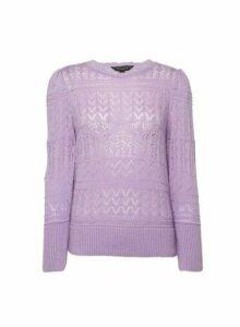 Womens Lilac Pointelle Scallop Jumper- Purple, Purple