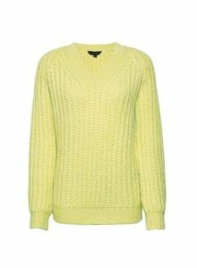 Womens Lime V-Neck Chunky Jumper- Green, Green