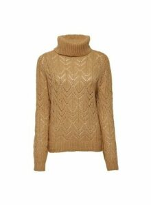 Womens Camel Stitch Roll Neck Jumper- Brown, Brown