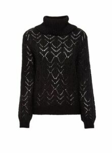Womens Black Stitch Roll Neck Jumper, Black