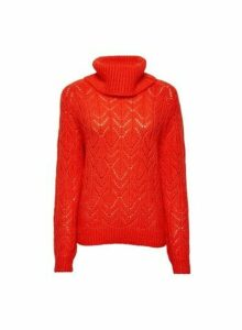 Womens Red Stitch Roll Neck Jumper, Red