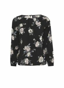 Womens **Billie & Blossom Petite Black Floral Printed Long Sleeve Top, Black