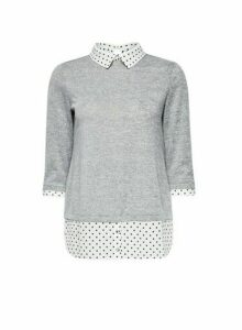 Womens Petite Grey Spot Print 2-In-1 Jumper, Grey