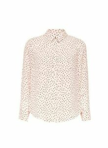 Womens Petite Blush Spot Print Shirt- Pink, Pink