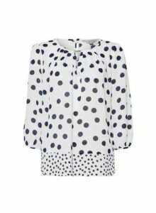 Womens **Billie And Blossom White Spot Print Trim Blouse, White