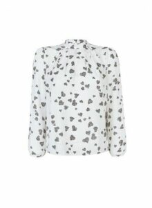 Womens **Billie & Blossom Petite White Heart Print Long Sleeve Top, White