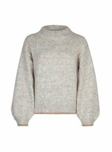 Womens Oatmeal Knitted Trim Jumper- Beige, Beige