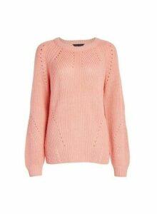 Womens Pink Stitch Jumper, Pink