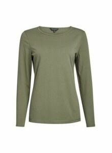 Womens Khaki Long Sleeve Crew Neck Top, Khaki