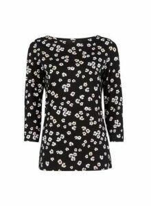 Womens Black Floral Print 3/4 Sleeve Top, Black