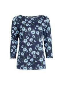 Womens Black Floral Print 3/4 Sleeve Crew Neck Top- Blue, Blue