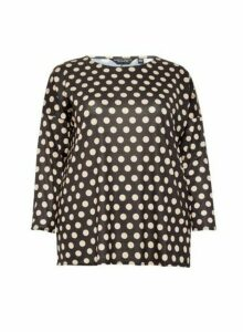 Womens **Dp Curve Black Spot Print Batwing Top- White, White