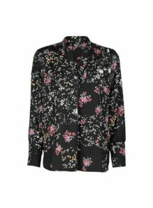 Womens **Only Black Floral Print Shirt, Black