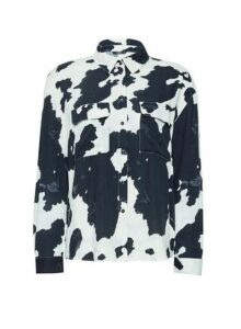 Womens **Only White Cow Print Shirt, White