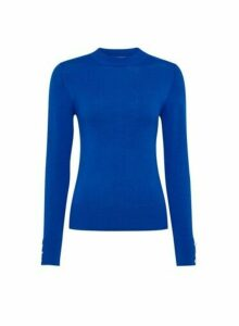 Womens Petite Cobalt Fine Gauge High Neck Jumper- Blue, Blue