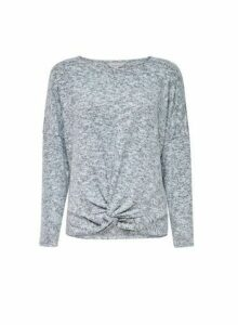 Womens Petite Grey Brushed Twist Front Top, Grey
