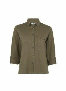 Womens Petite Khaki Jersey Shirt, Khaki