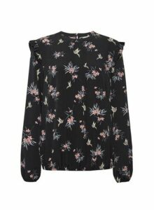 Womens **Billie & Blossom Tall Black Floral Bird Print Long Sleeve Top, Black