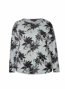 Womens Dp Curve Grey Leaf Print Brushed Top, Grey
