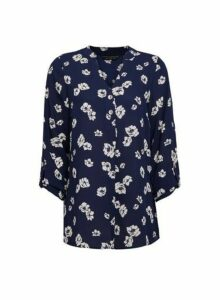 Womens Navy Floral Print Long Sleeve Blouse - Blue, Blue