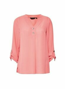 Womens Pink Button Long Sleeve Top, Pink