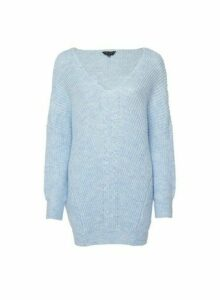 Womens Blue V-Neck Cable Jumper With Recycled Yarns, Blue