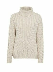 Womens Cream Cable Roll Neck Jumper, Cream