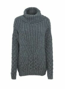 Womens Grey Cable Roll Neck Jumper, Grey
