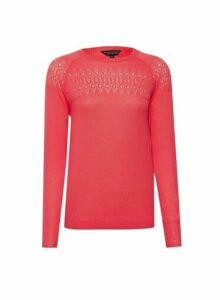 Womens Coral Pointelle Fine Knit Jumper, Coral